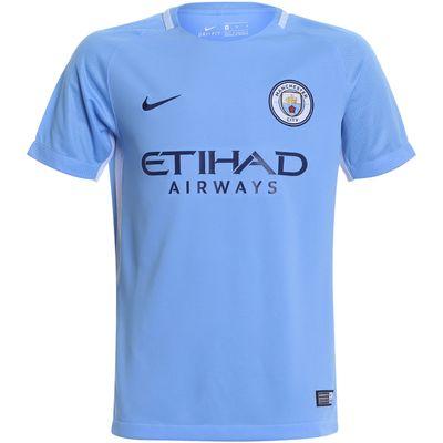 Camisa Nike Manchester City I 2017/2018 Azul Infantil