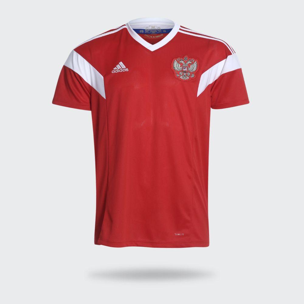 020219b50e82e Camisa Adidas Rússia I 2018 Vermelha Masculina Vermelho e Branco ...