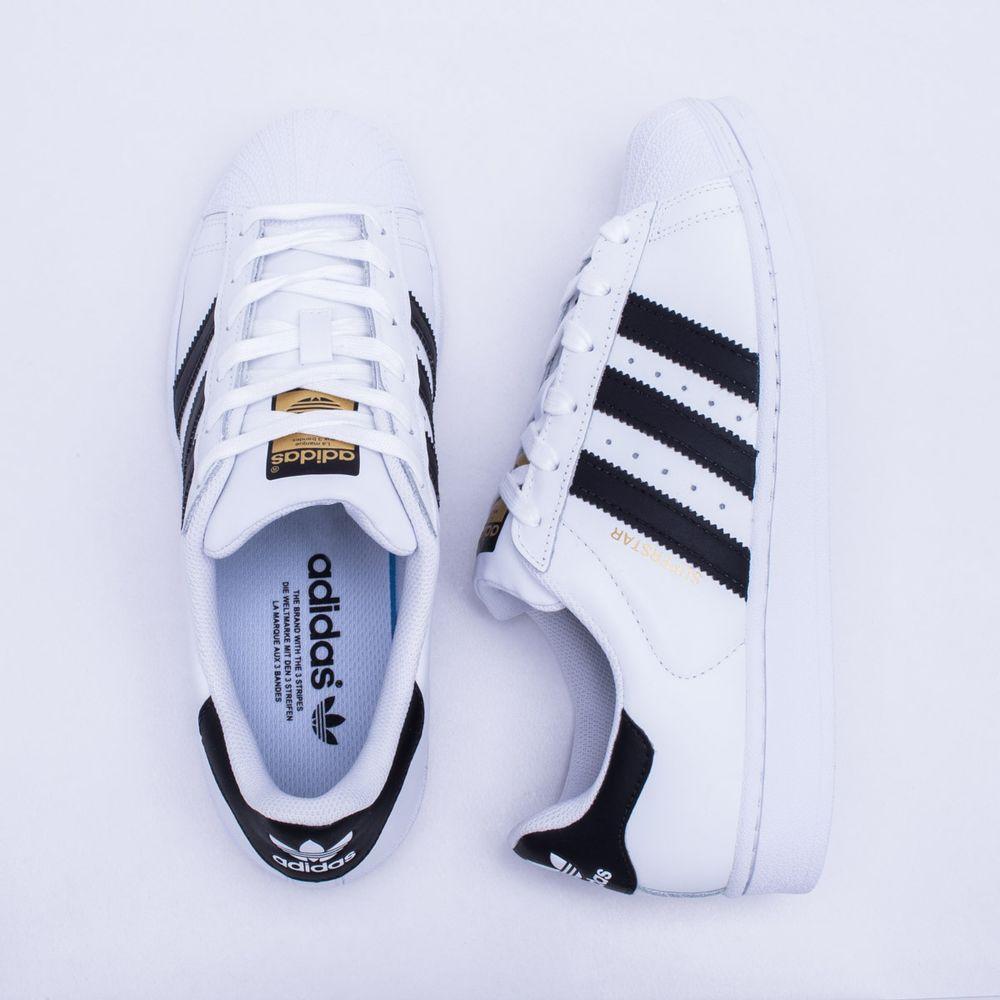 511770a94a3fd Tênis Adidas Superstar Foundation Originals Branco e Preto - Gaston ...