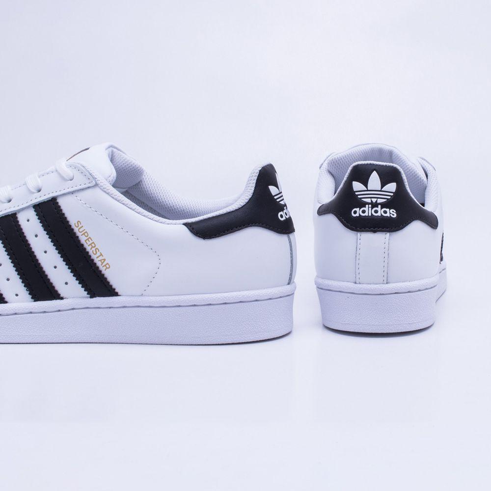 ca6c0ff9 Tênis Adidas Superstar Foundation Originals Branco e Preto - Gaston ...