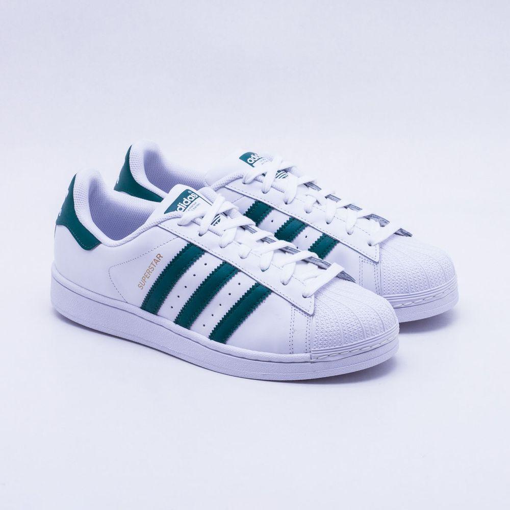 Tênis Adidas Superstar Originals Branco Masculino Branco e Verde ... 0c2326c0f53da