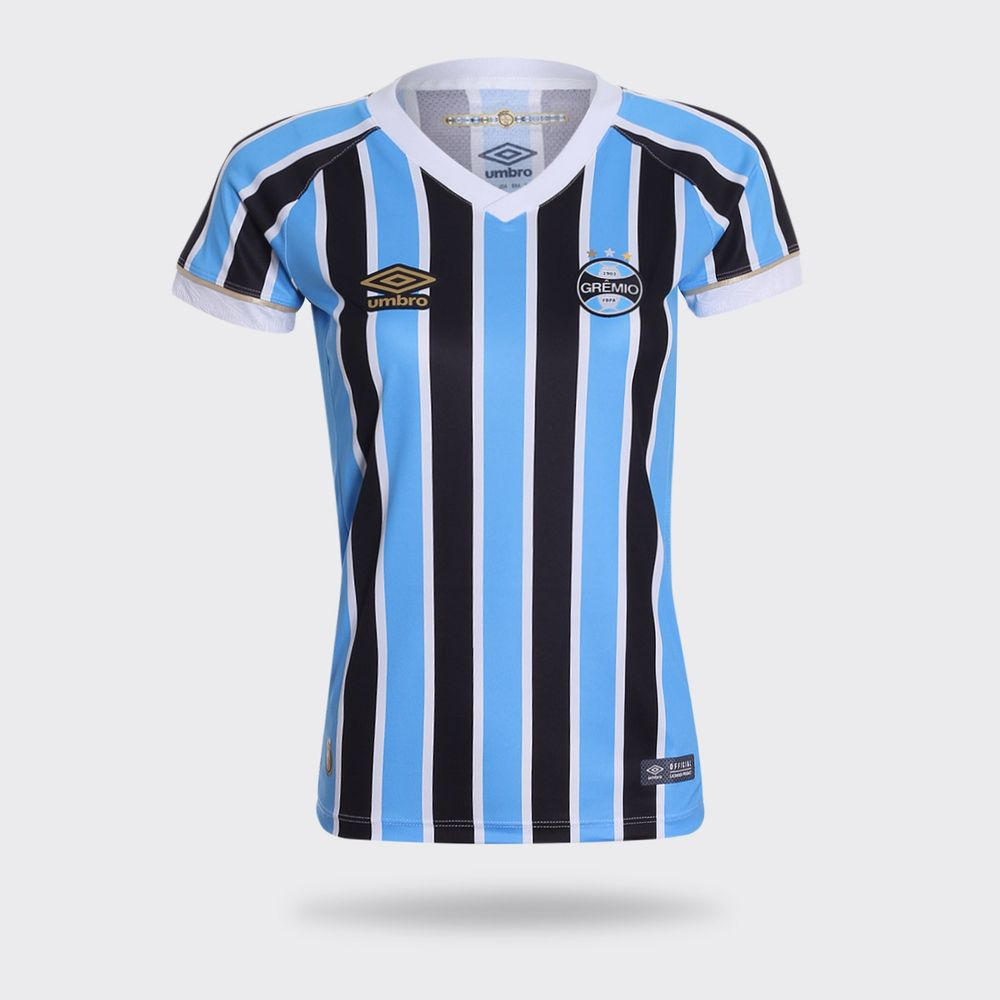 Camisa Umbro Grêmio I 2018 Tricolor Feminina Tricolor - Gaston ... 883d352b10403