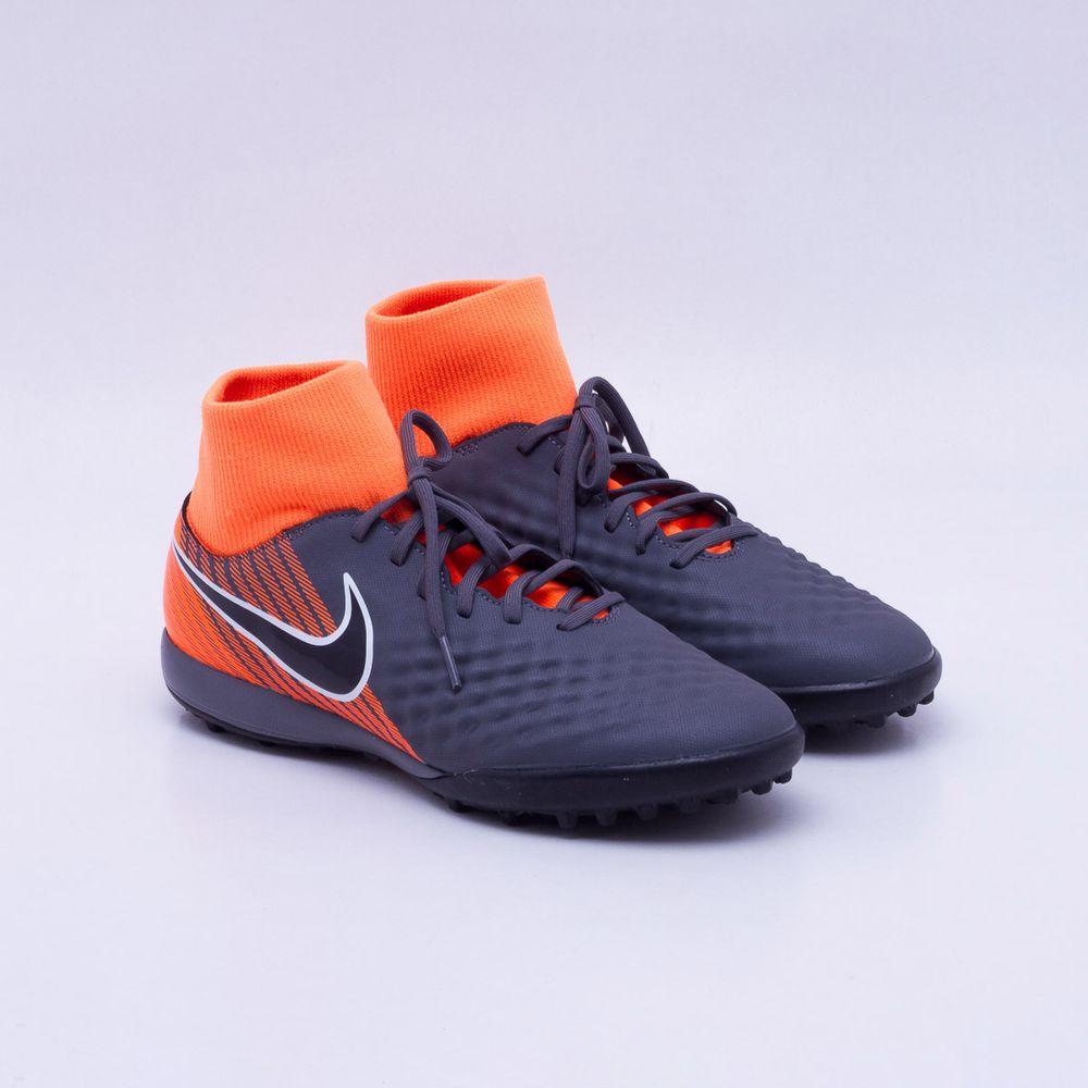 Chuteira Society Nike MagistaX Obra 2 Academy TF Cinza e Laranja ... ae5e85981150e