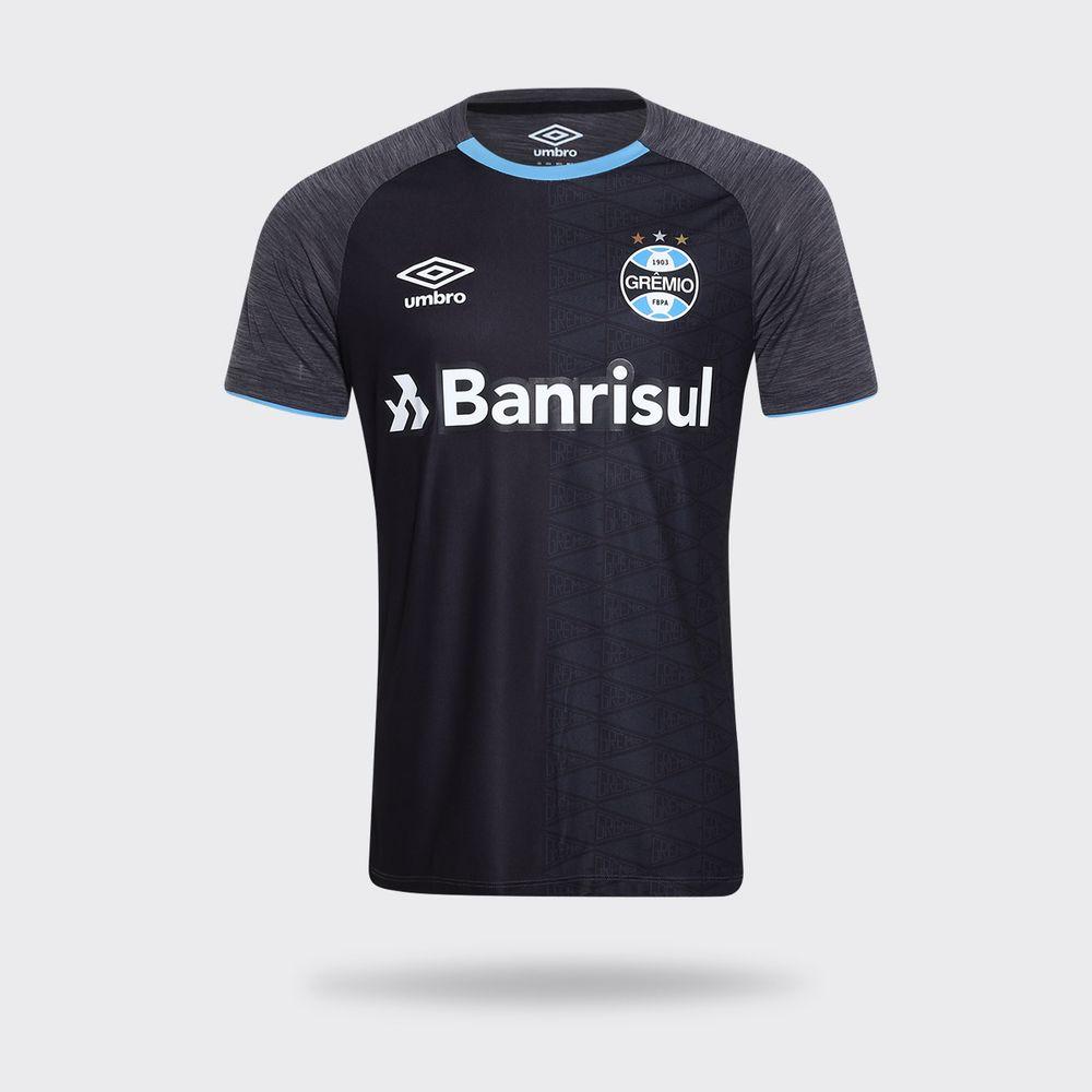 Camisa Umbro Grêmio 2018 Aquecimento Preta Masculina Preto e Grafite ... 4649fc9b2535a