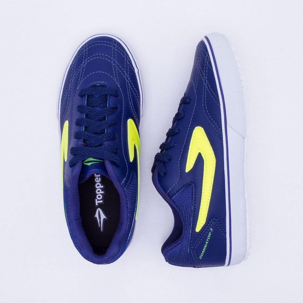 6ad1093043 Chuteira Futsal Topper Dominator 3 Infantil Azul - Gaston - Paqueta ...