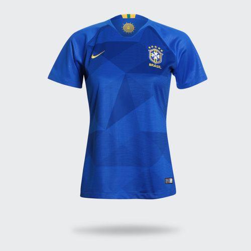 Camisa Nike Brasil 2018/2019 II Réplica Torcedor Azul Feminina