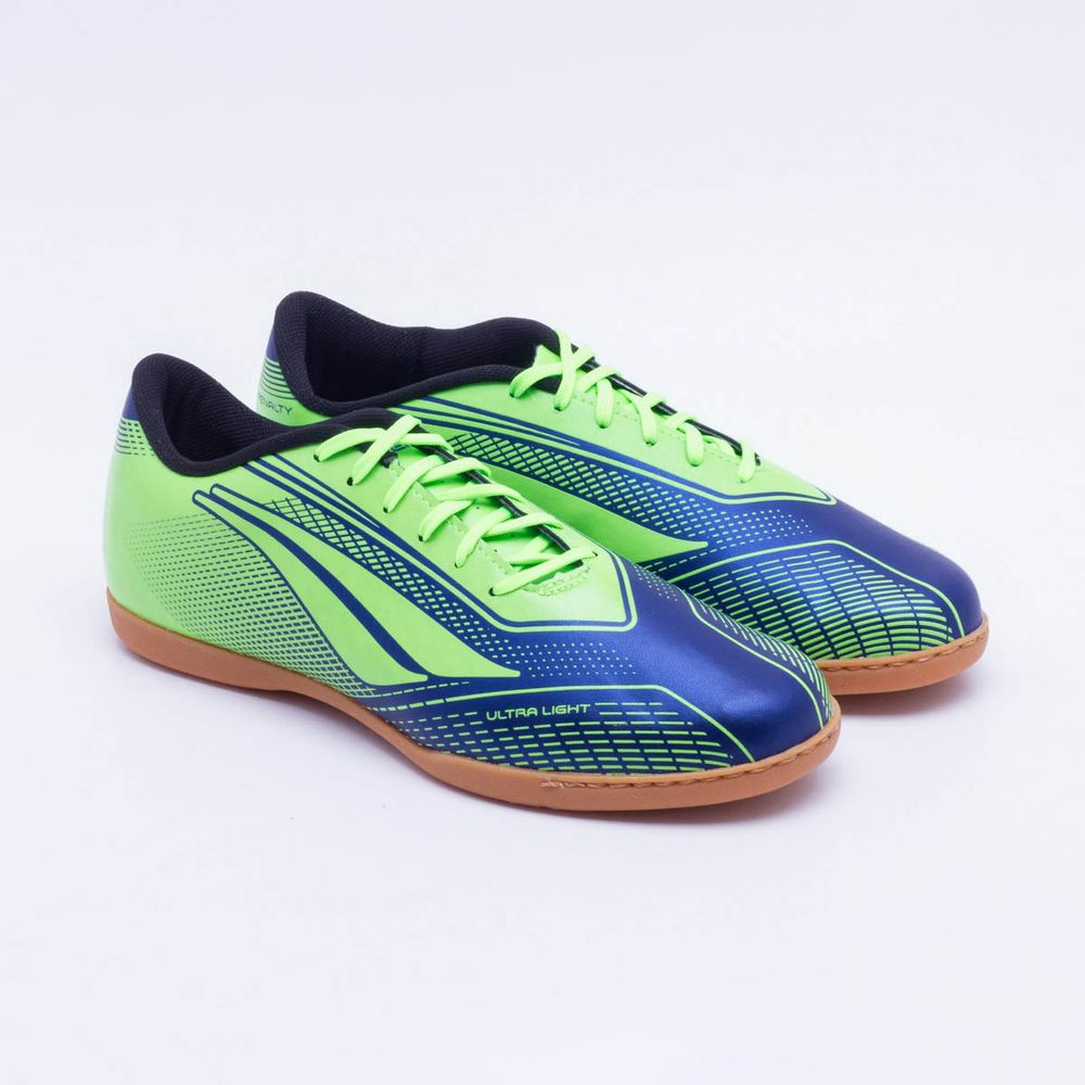 85a158cb74 Chuteira Futsal Penalty Storm Speed VII IC Verde Limão e Marinho ...