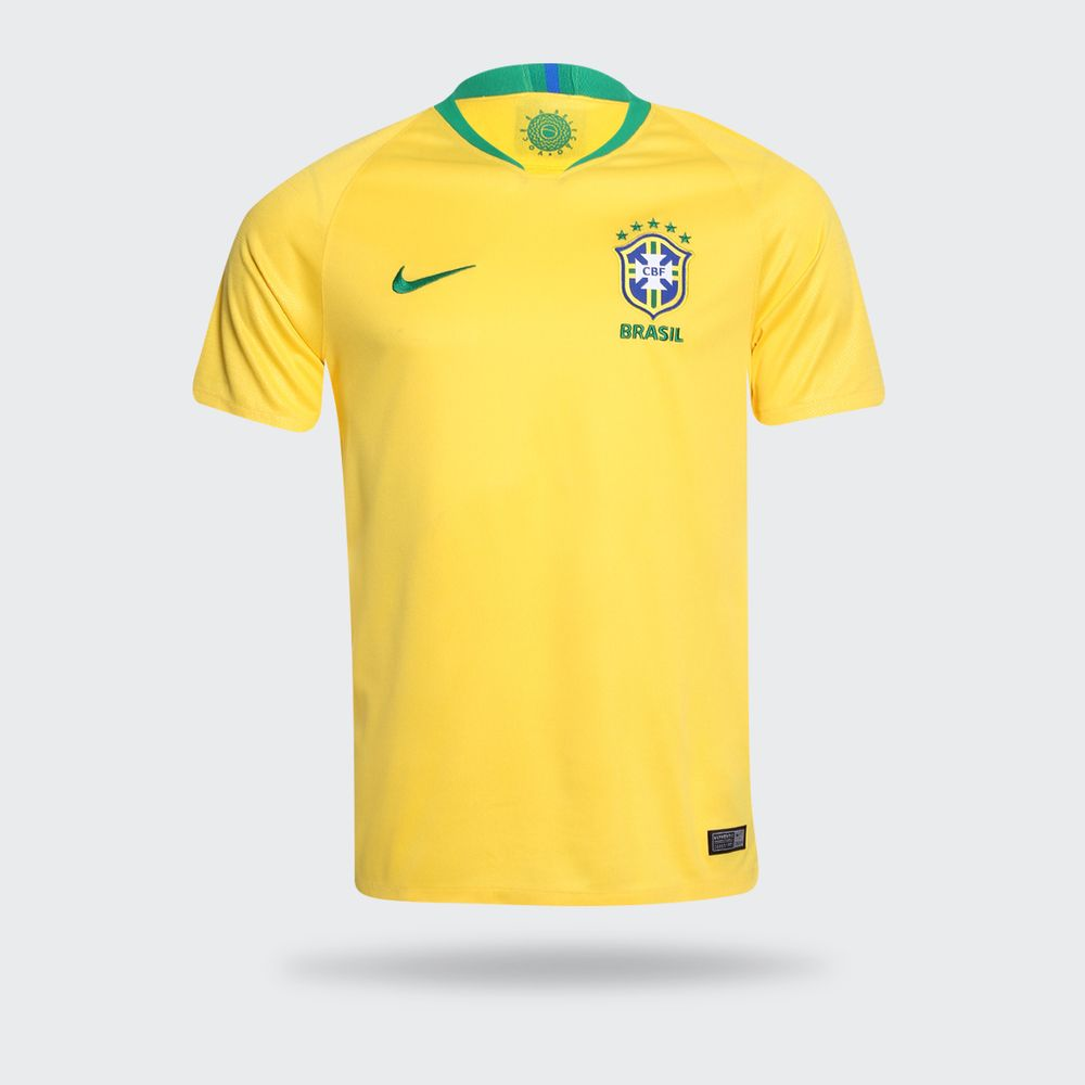715d8a79af660 Camisa Nike Brasil 2018 2019 I Torcedor Amarela Masculina Amarelo ...