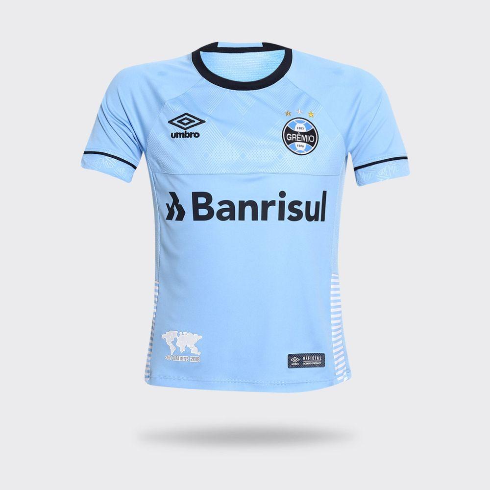 57242587f5d01 Camisa Umbro Grêmio 2018 Charrua Azul Claro Infantil Azul Claro ...
