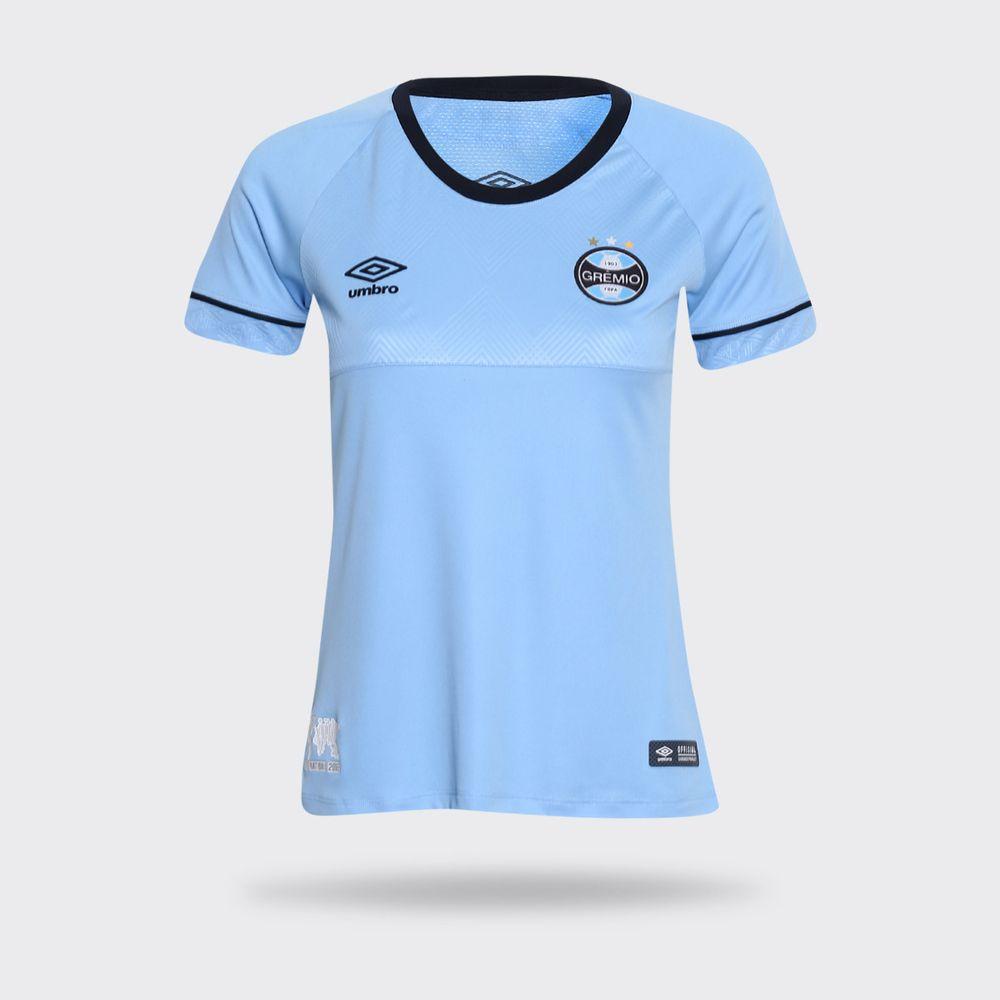 5990c7ea0f Camisa Umbro Grêmio 2018 Charrua Azul Claro Feminina Azul Claro ...
