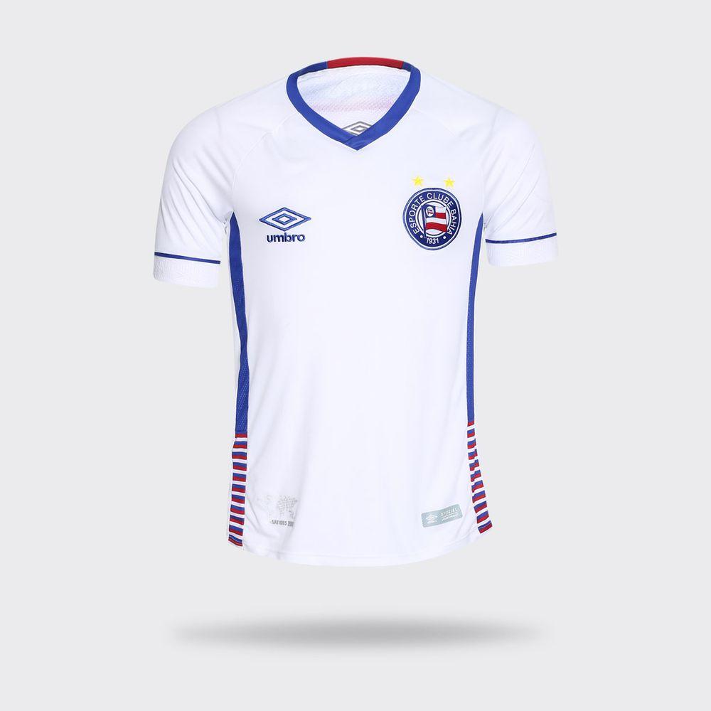 79077d183d Camisa Umbro Bahia 2018 II SK-1 Branca Masculina Branco e Azul ...