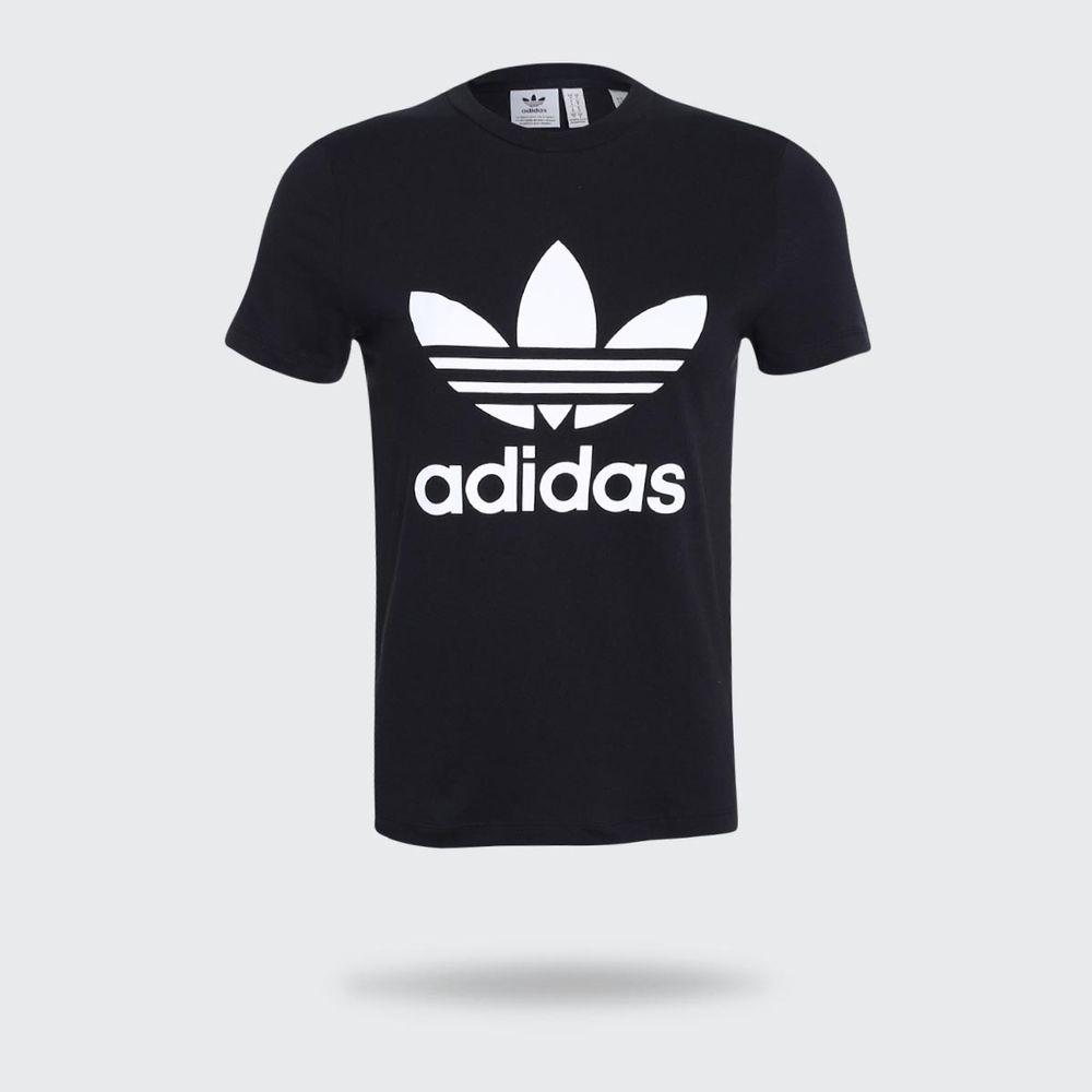 6e57a93b3b Camiseta Adidas Trefoil Originals Preta Feminina Preto - Gaston ...