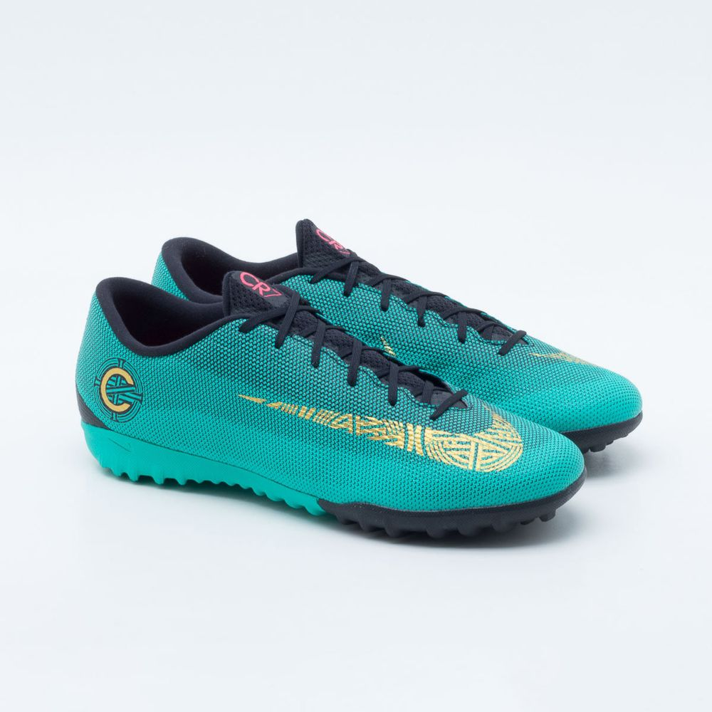 387d1a1ac2861 Chuteira Society Nike Mercurial CR7 VaporX 12 Academy TF Turquesa ...