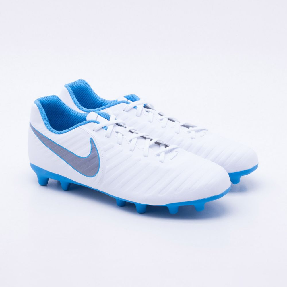 Chuteira Campo Nike Tiempo Legend 7 Club FG Branco e Azul - Gaston ... af2bcab32b7be