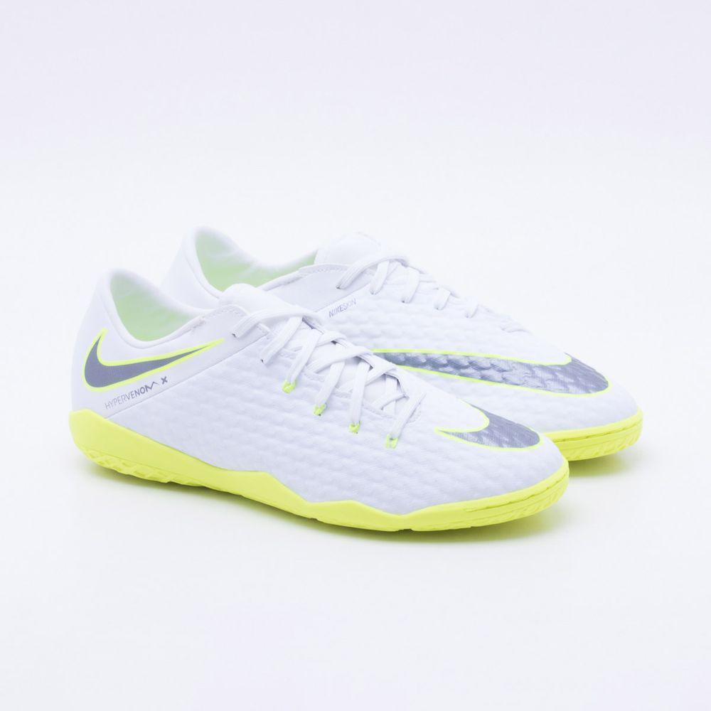ea279c5858 Chuteira Futsal Nike Hypervenom Phantom 3 Academy IC Branco e Verde ...
