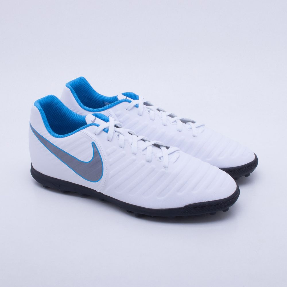 653ea03e37 Chuteira Society Nike TiempoX Legend 7 Club TF Branco e Azul ...