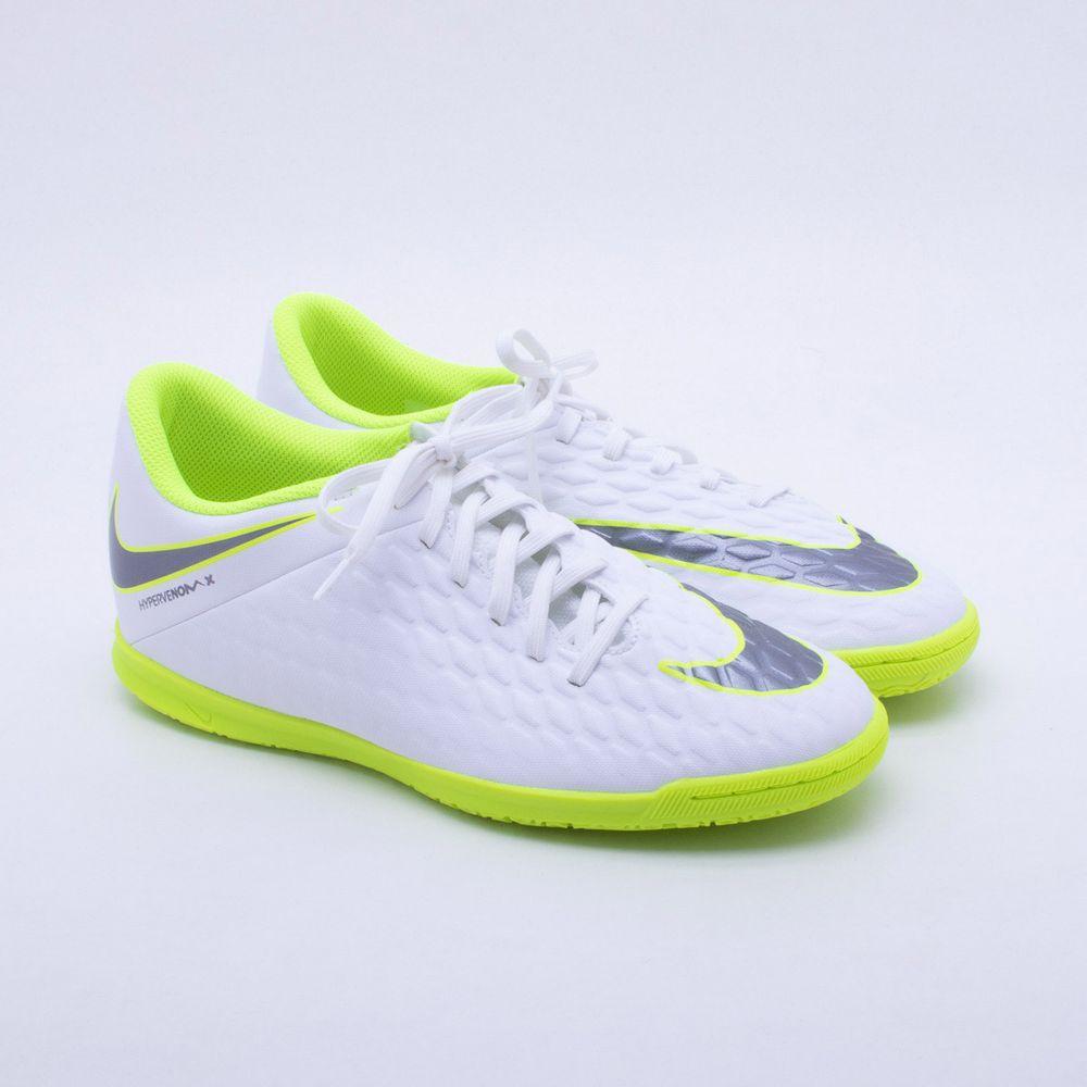 9427e89162e60 Chuteira Futsal Nike HypervenomX Phantom 3 Club IC Branco e Verde ...