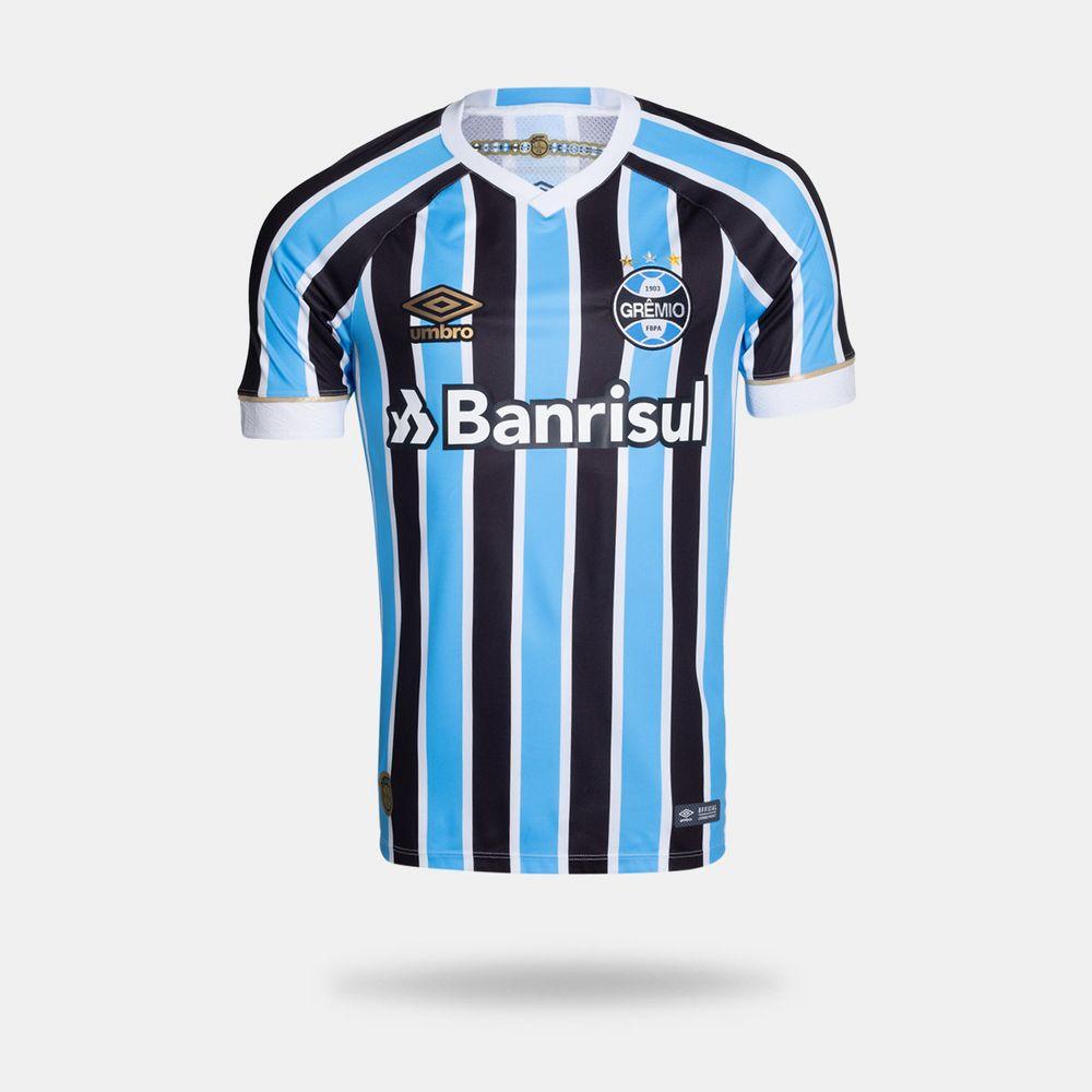 016b62a84ed5d Camisa Umbro Grêmio 2018 I Torcedor Com Número Tricolor Masculina ...