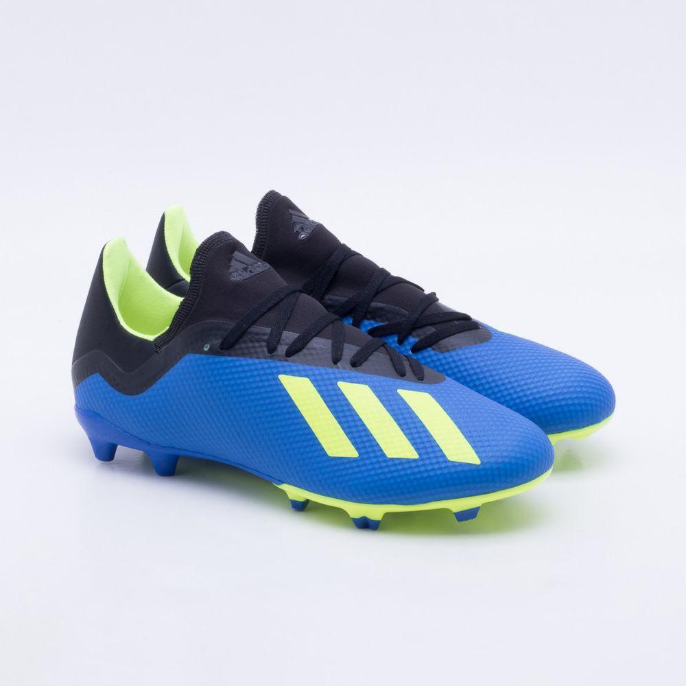 Chuteira Campo Adidas X 18.3 FG Azul e Verde Limão - Gaston ... 5368a2ed9a28b
