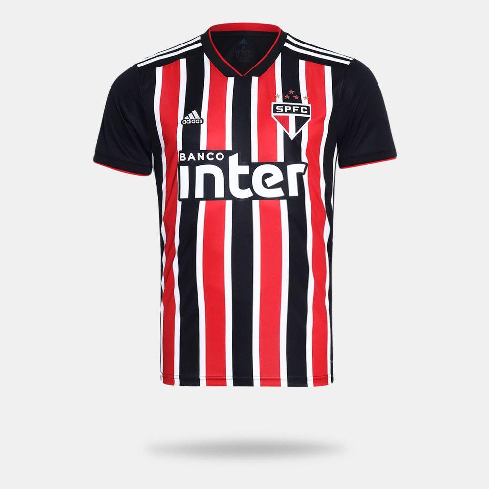 8c83904ff1 Camisa Adidas São Paulo II 2018 Preta Masculina Preto e Vermelho ...