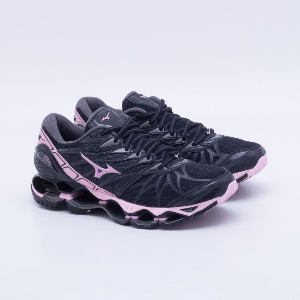 0399d854ad Tênis Mizuno Wave Prophecy 7 Feminino Preto e Rosa - Gaston ...