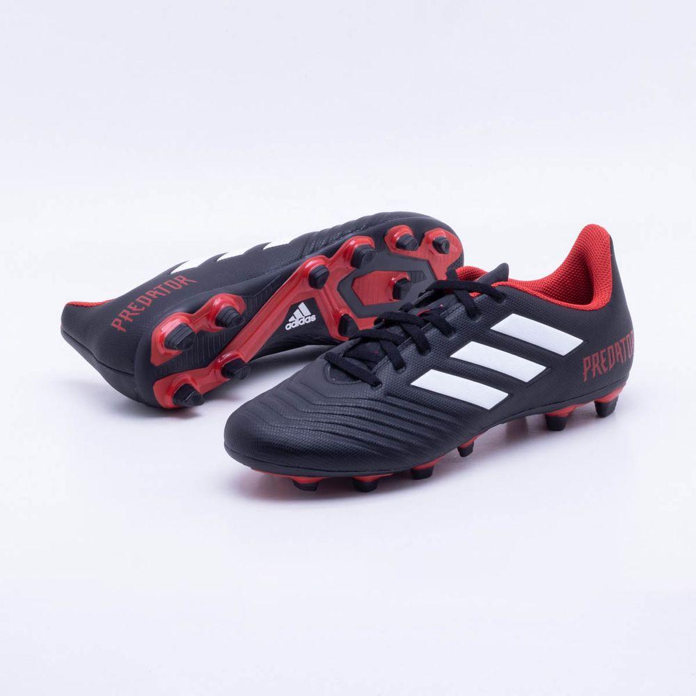 ad7271f56d579 Chuteira Campo Adidas Predator 18.4 FG Preto e Vermelho - Gaston ...