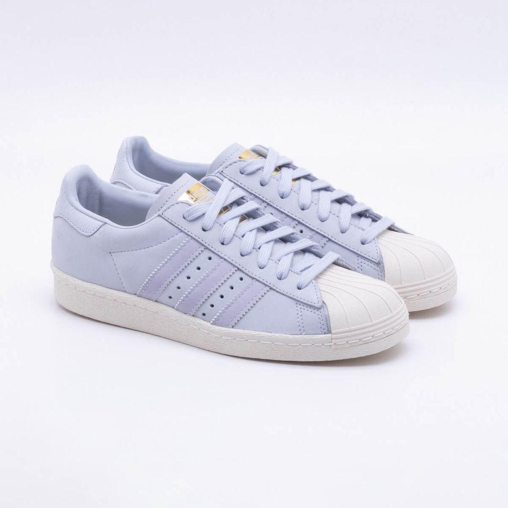 5ffa3f8fca4 Tênis Adidas Superstar 80S Originals Azul Feminino Azul e Branco ...