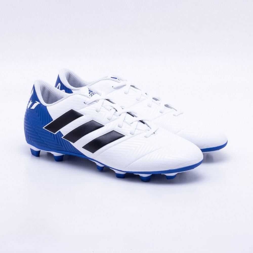 1132f736760ff Chuteira Campo Adidas Nemeziz Messi 18.4 FG Branco e Azul - Gaston ...