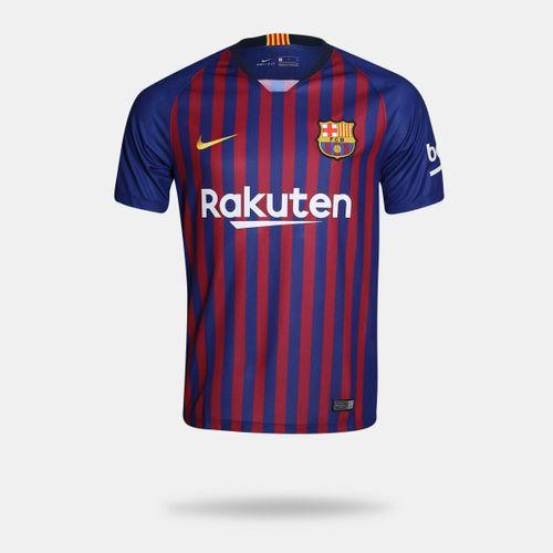 Camisa Nike Barcelona I 2018 2019 Torcedor Azul Masculina 346ac73d0ef61