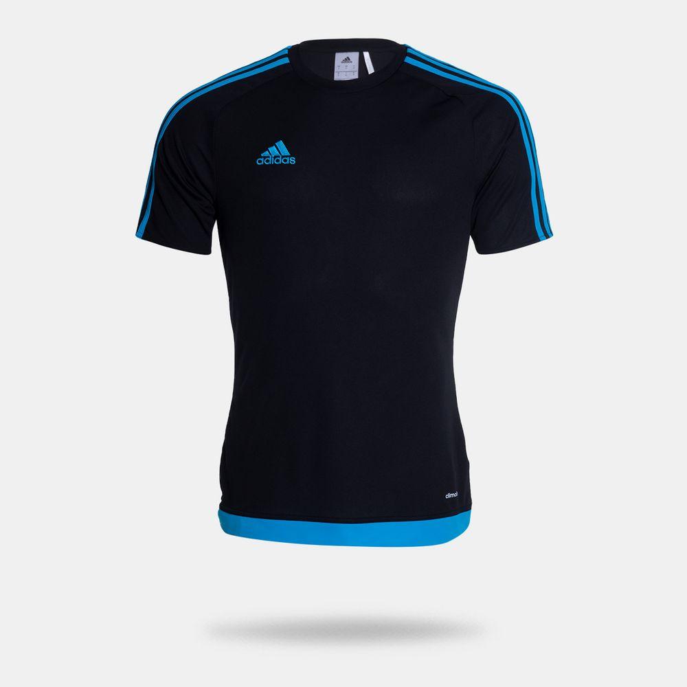 2e8f64d0175cb Camisa Adidas Estro 15 Preta Masculina Preto e Azul - Gaston ...