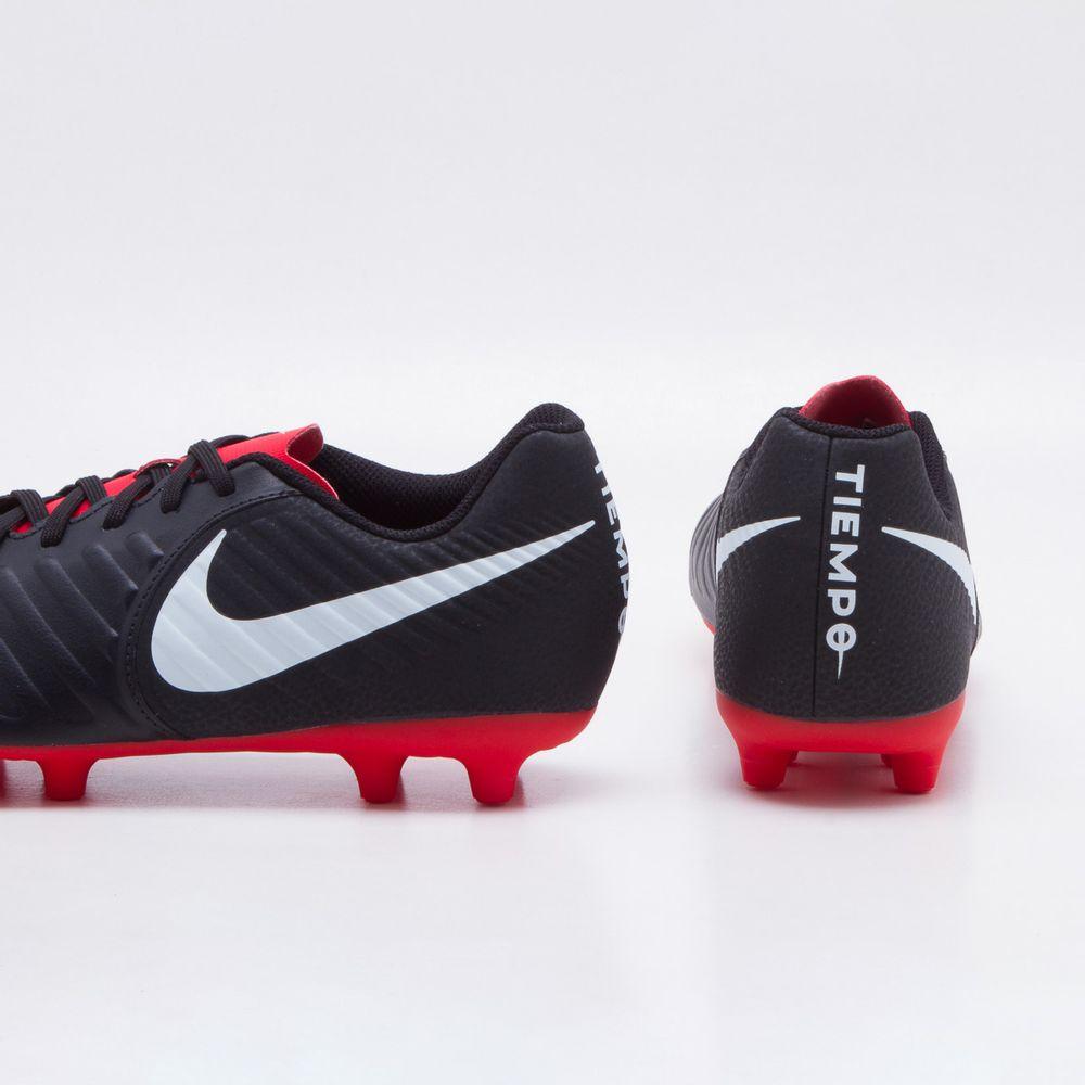 Chuteira Campo Nike Tiempo Legend 7 Club FG Preto e Vermelho ... eca5322764af8