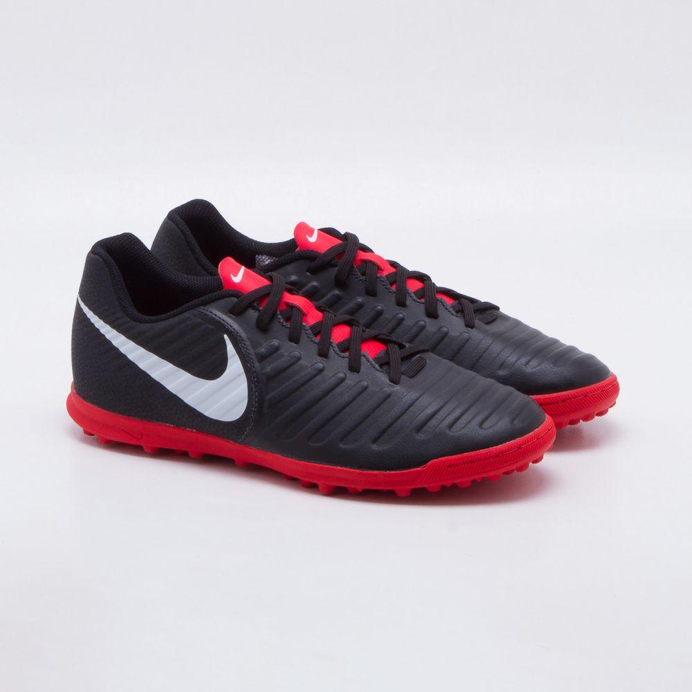 Chuteira Society Nike Tiempox Legend 7 Club TF Preto e Vermelho ... 58edd3e4667d1