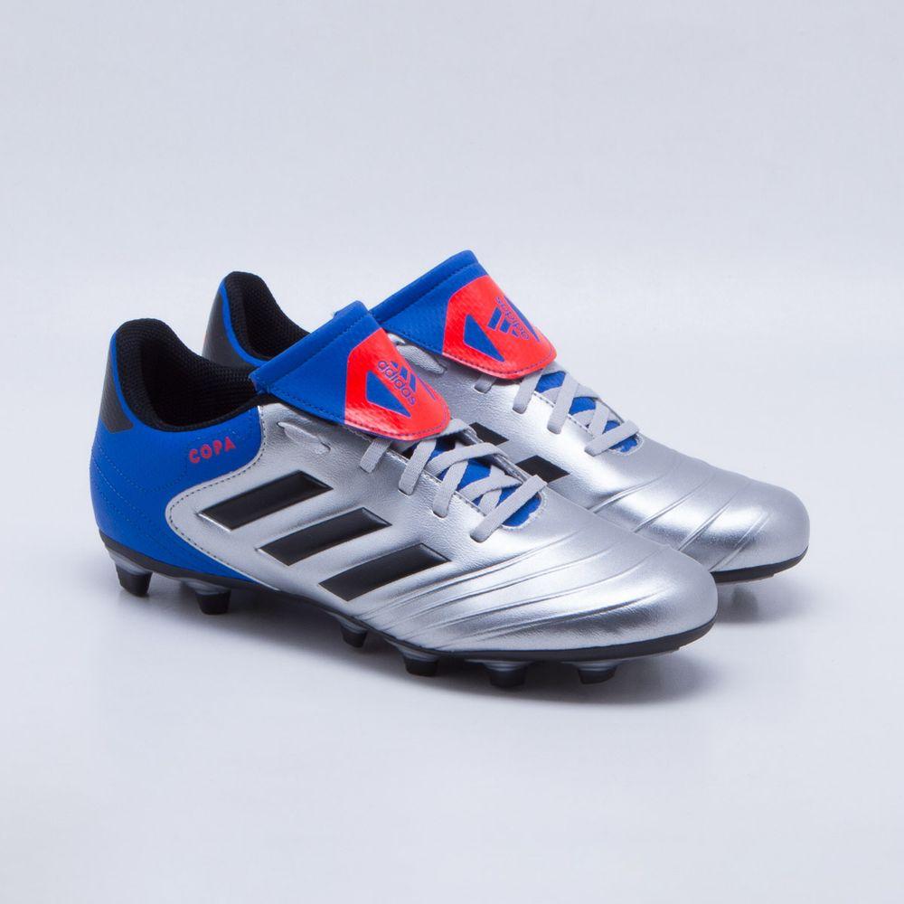 Chuteira Campo Adidas Copa 18.4 FXG Prata e Azul - Gaston - Paqueta ... 987792bb9e2e1