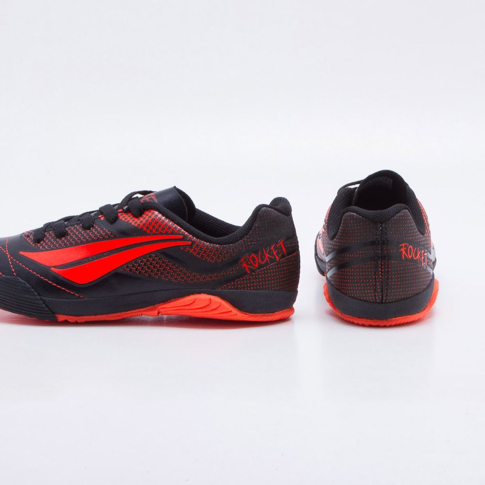 Chuteira Futsal Penalty ATF-K Rocket VII Infantil Preto e Coral ... 980fda40b6ad8