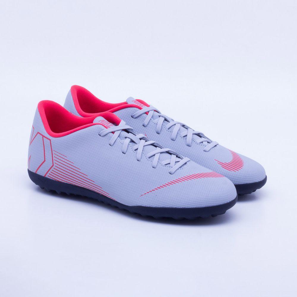 Chuteira Society Nike MercurialX Vapor 12 Club TF Cinza e Vermelho ... f28587df6242b