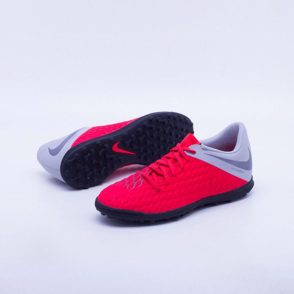 Chuteira Society Nike PhantomX 3 Club TF Vermelho e Cinza - Gaston ... 451593ada1b5b