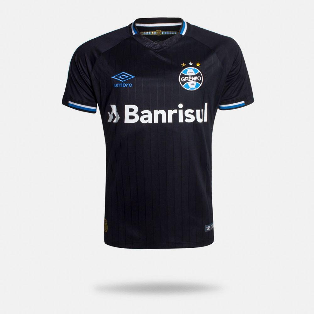 214e7b6d29 Camisa Umbro Grêmio 2018 III Com Número Torcedor Preta Masculina ...