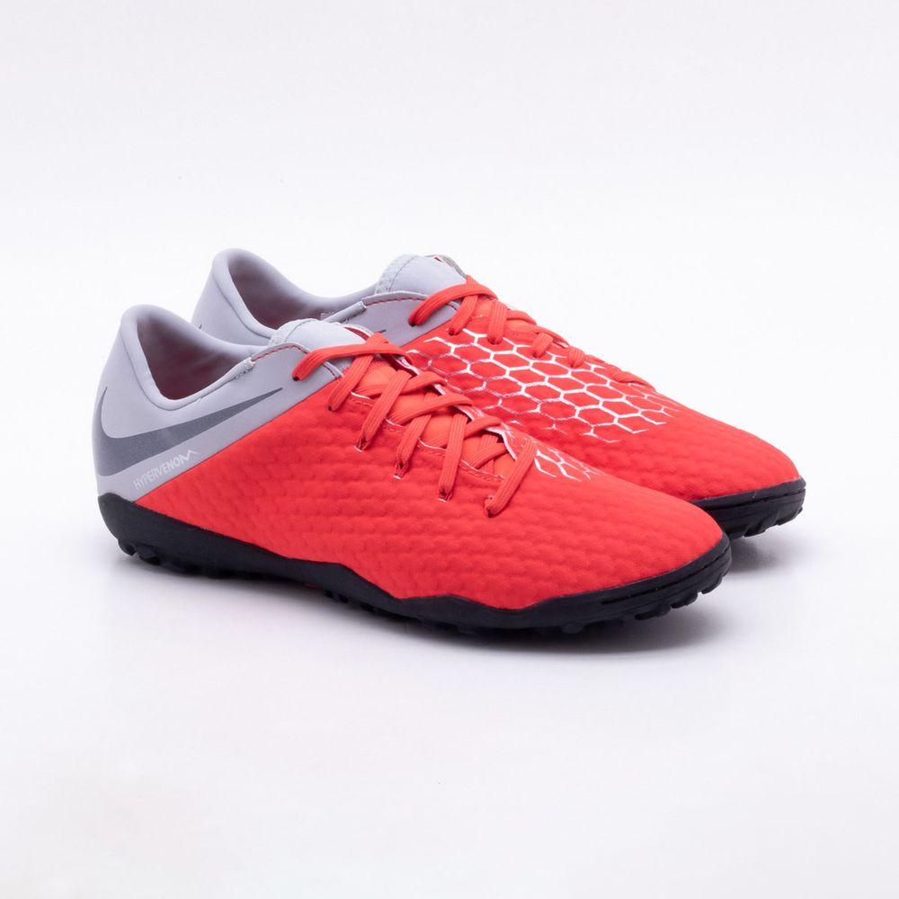 Chuteira Society Nike HypervenomX Phantom 3 Academy TF Vermelho e Preto -  Gaston - Paqueta Esportes 4c235c6a290e0