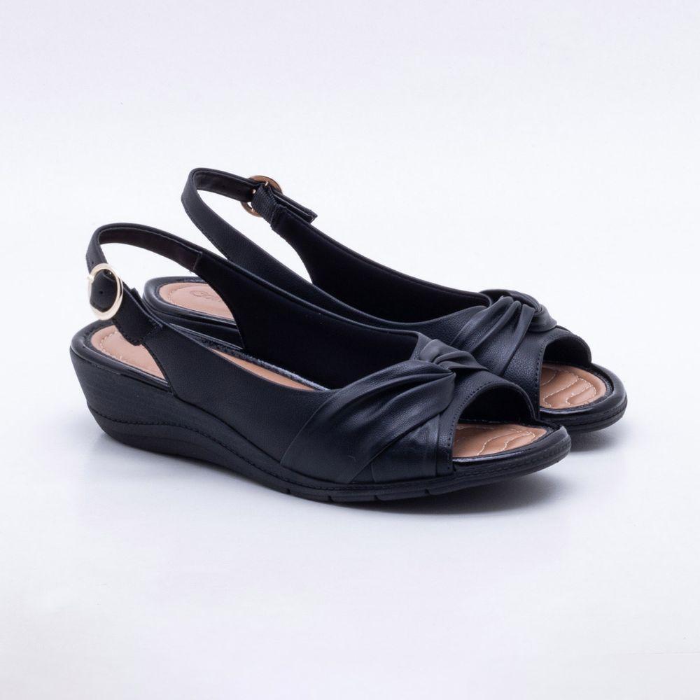 9bd7c3b0c0 Sandália Anabela Comfortflex Preta Preto - Gaston - Paqueta Calçados