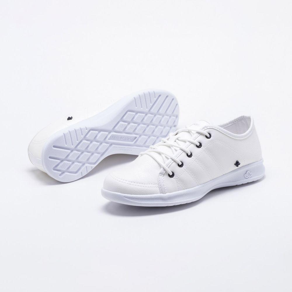 39f7533506 Tênis Cravo   Canela Follow Branco Branco - Gaston - Paqueta Calçados