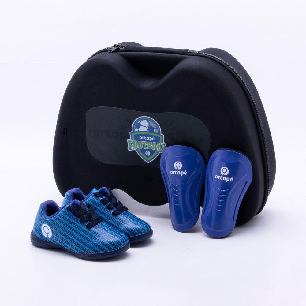 Chuteira Futsal Ortopé Infantil Azul Azul - Gaston - Paqueta Esportes 6890b17670d65