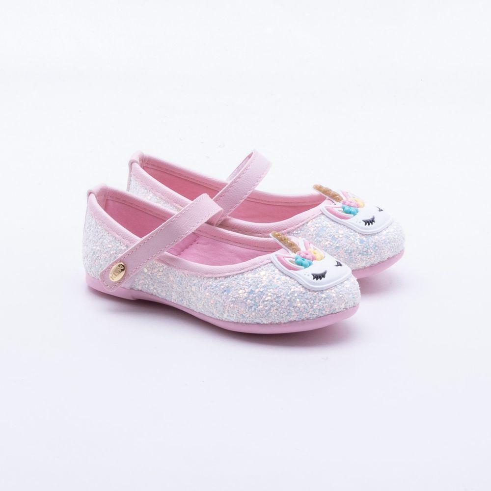 ca7b491f4d9855 Sapatilha Klin Baby Unicórnio Branca Branco e Rosa - Gaston - Gaston
