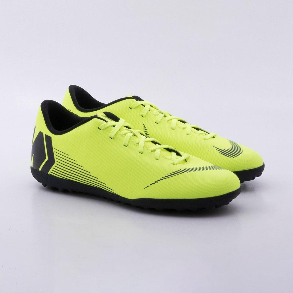6a51de2c3da0f Chuteira Society Nike MercurialX Vapor 12 Club TF Verde Limao e ...