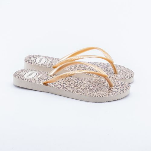55aff6b021cbd Chinelo Havaianas Slim Animals Bege