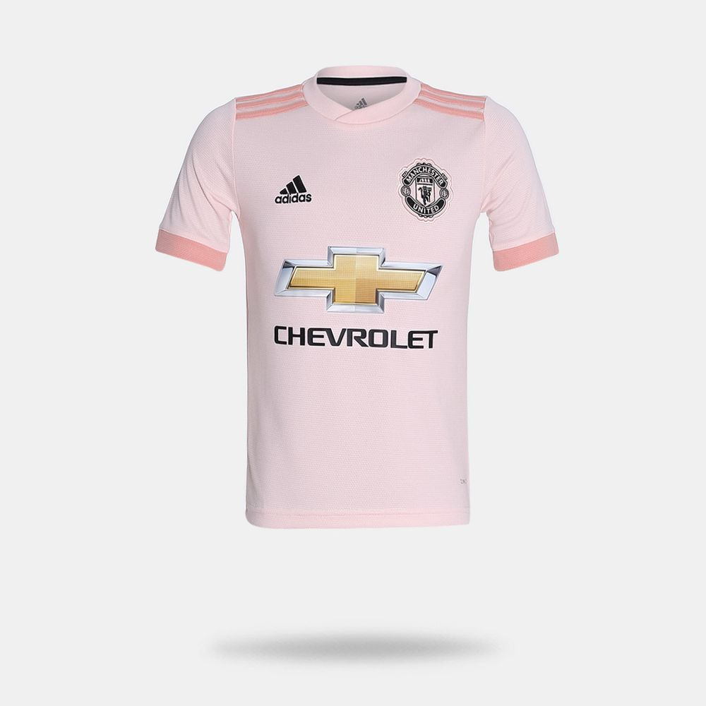a0b2ac2d58 Camisa Adidas Manchester United 2018/2019 II Rosa Claro Infantil ...