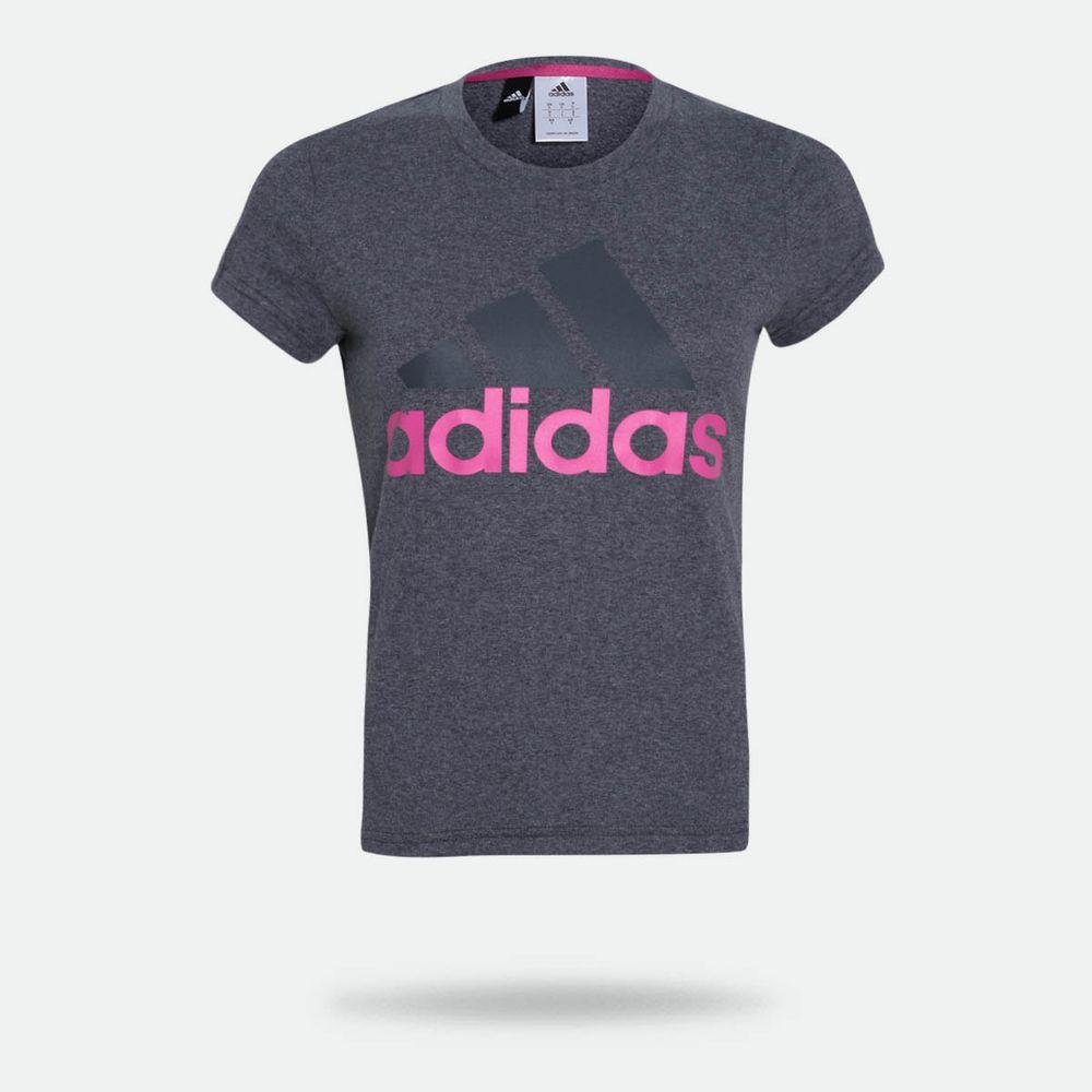 f06e58edb8b Camiseta Adidas Essentials Linear Cinza Feminina Cinza - Gaston ...