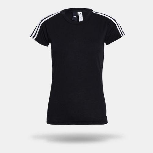 Camiseta Adidas Essentiasl 3 Stripes Preta Feminina 558571aaa109a