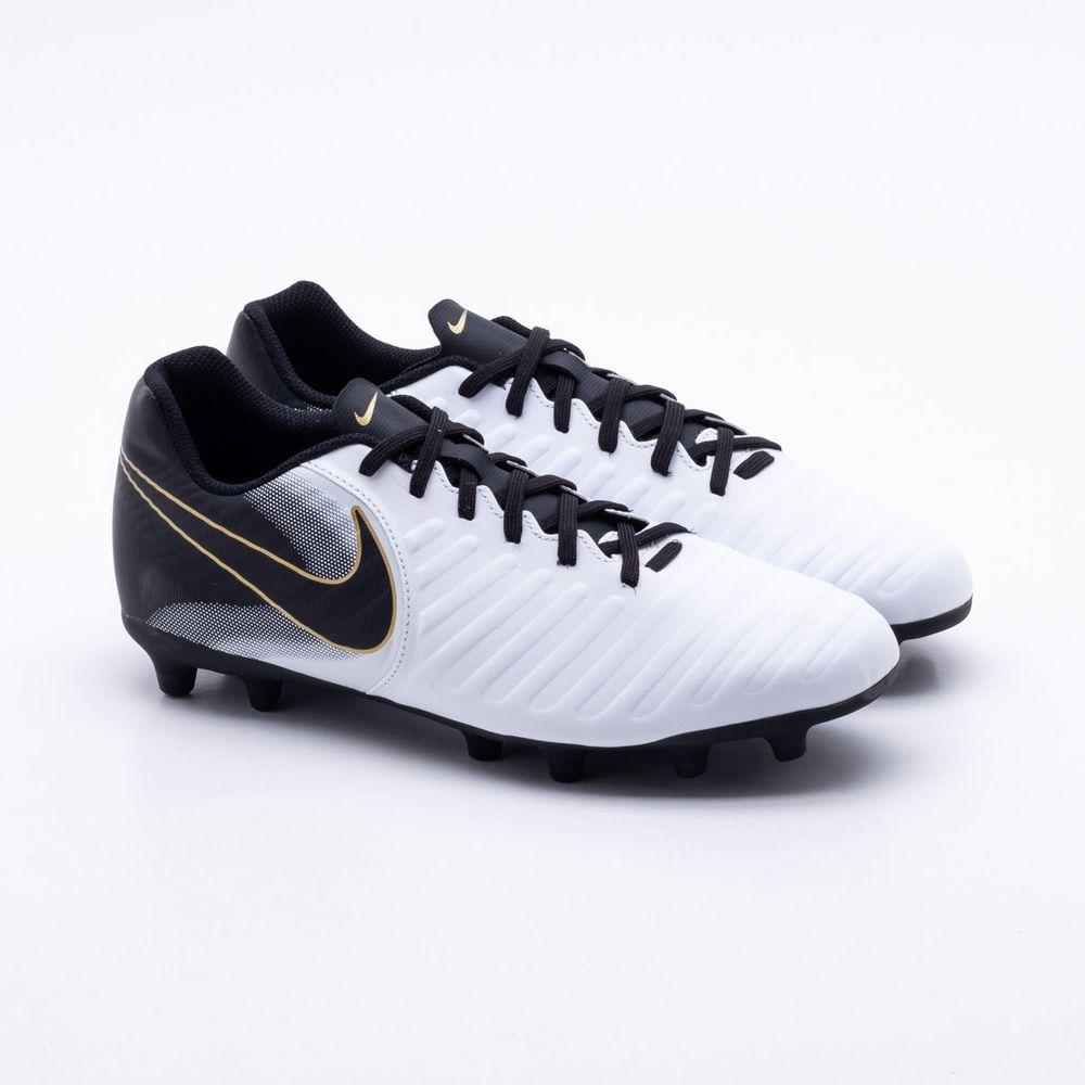 Chuteira Campo Nike Tiempo Legend VII Club FG Branco e Preto ... 7845e87dc6d99