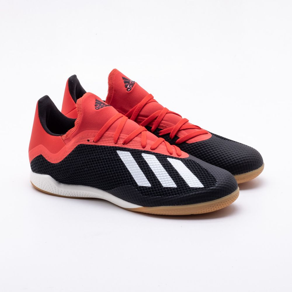 6b3a9a8831124 Chuteira Futsal Adidas X 18.3 IN Preto e Vermelho - Gaston - Gaston
