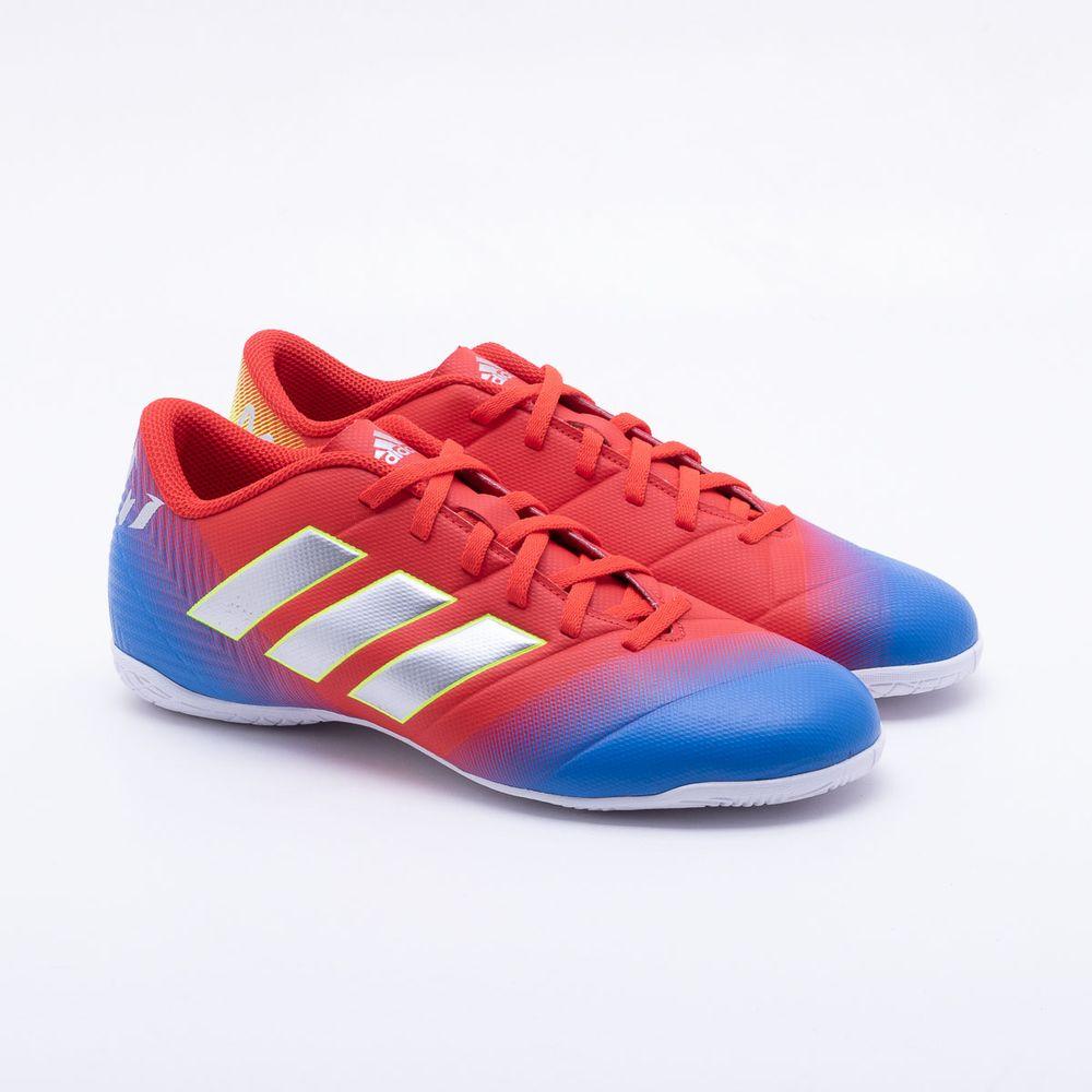 a3b6956b4b Chuteira Futsal Adidas Nemeziz Messi 18.4 IN Vermelho e Azul - Gaston -  Paqueta Esportes